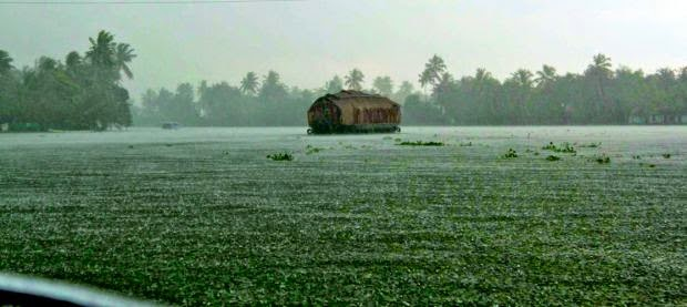 A Houseboat in Alleppey in monsoon season