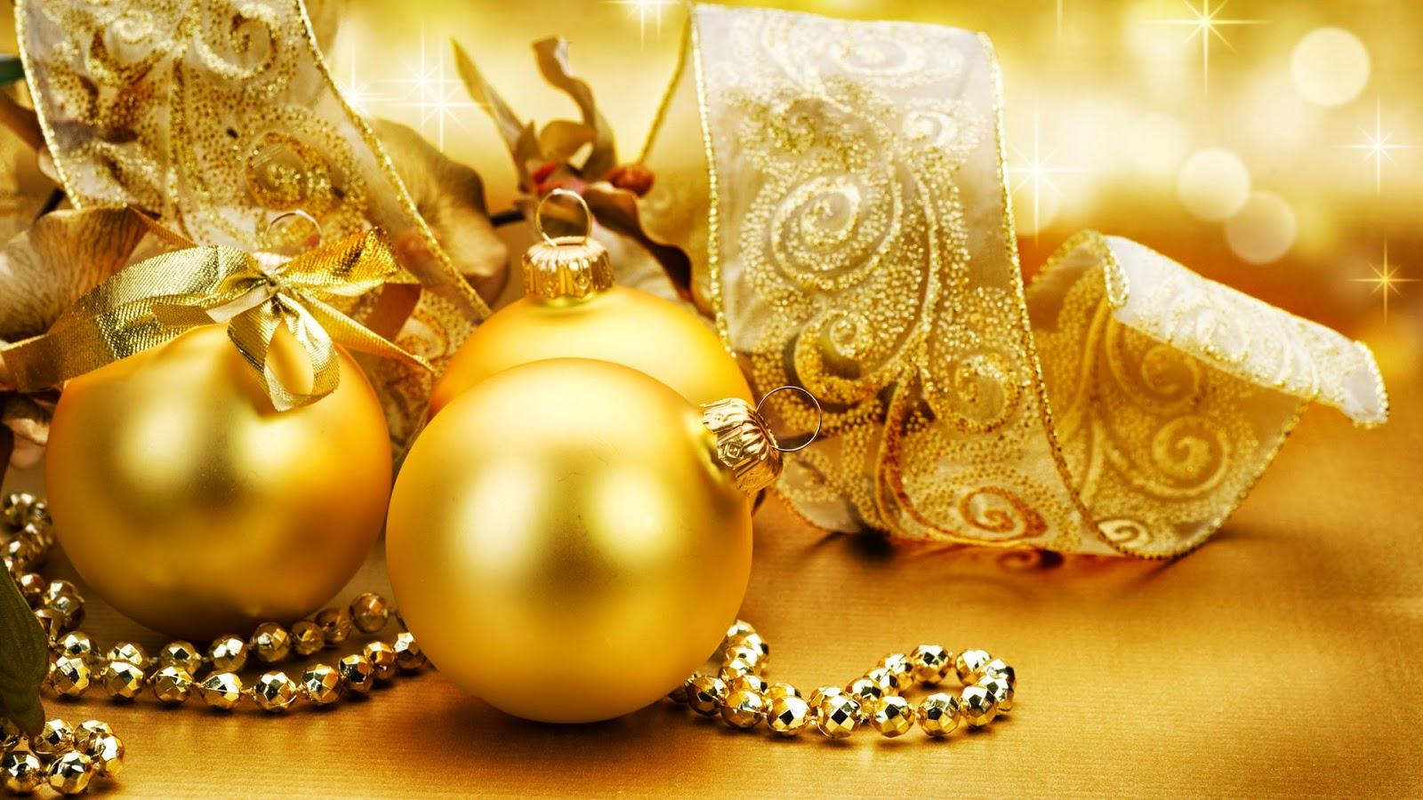 Fondo de pantalla navidad bolas doradas con lazo - Bolas de navidad doradas ...