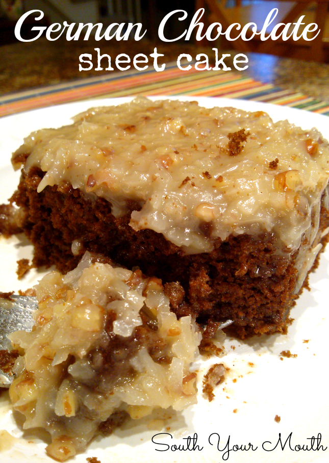 Easy German Chocolate Sheet Cake With Homemade Caramel Pecan And Coconut Icing