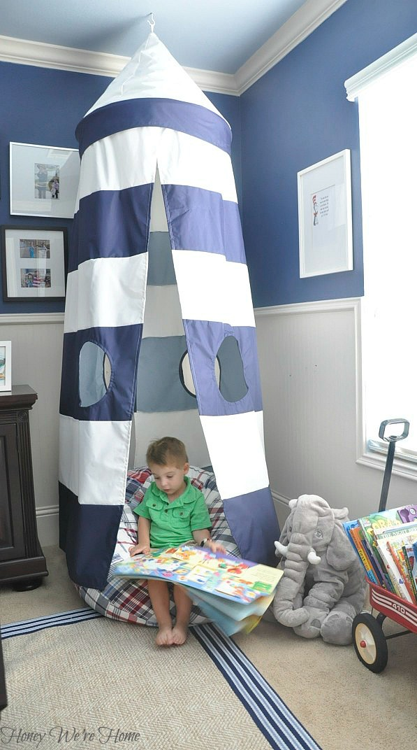 The inspiration for the reading nook began with the blue and white stripe Rugby Play Tent Canopy. Not only is it a super-cool place for a kid to hide away ... & Pottery Barn Kids u0026 PBS Kids Reading Nook Challenge (Vote to Win ...