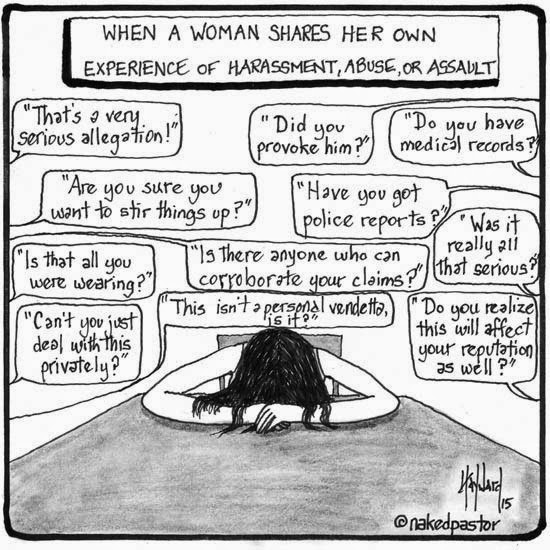Victim Blaming:  Victims are often traumatized when they try to report rape.  This happens when the people who should help them instead ask questions that actually place blame on the victim.