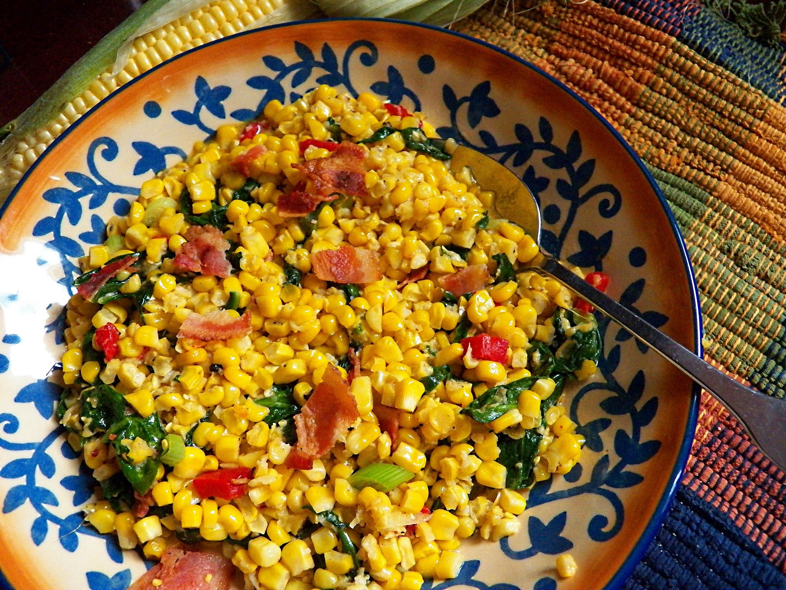 The Mom 100 Cookbook - Sauteed Corn, Spinach, Bacon and Scallions # ...