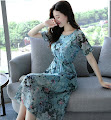 2017 Short Sleeve Elastic Waist Blue Floral Chiffon Dress