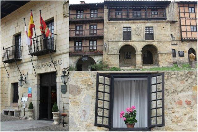 Casa Palacio de Pedro A Barreda Bracho – Parador Nacional Gil Blas, Casa del Aguila y ventanal con maceta en Santillana del Mar