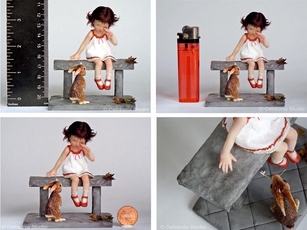 OOAK Art Doll, Bimba con Coniglio