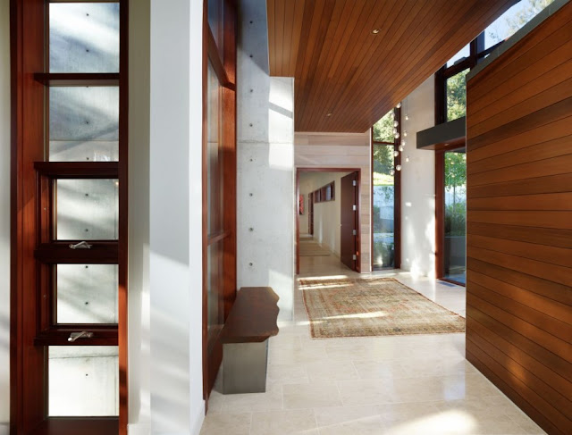 Contemporary interiors of the Mandeville Canyon Residence