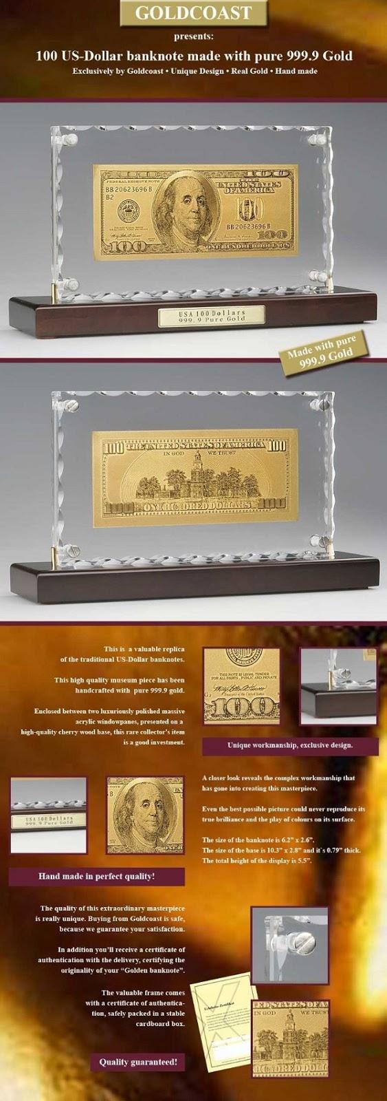 tổng thể tờ tiền 100 usd bằng vàng