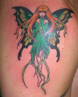 cute green fairy tattoo