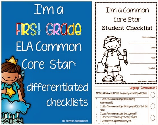 First Grade ELA Common Core Differentiated Checklists