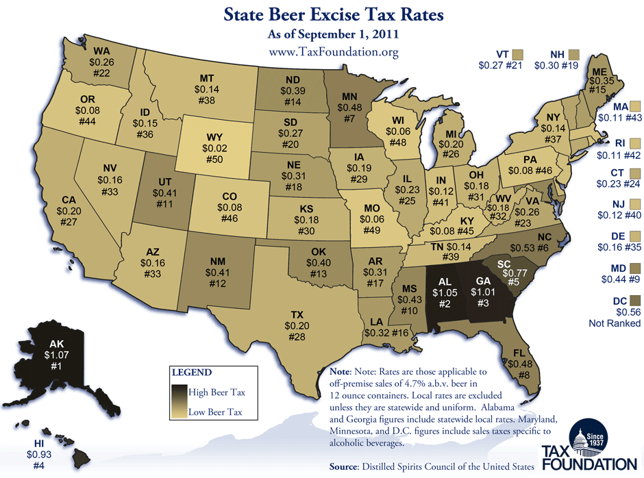 Tax Foundation: State Beer Excise Tax Rates