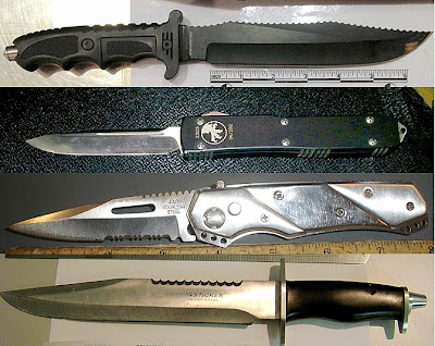 Knives Discovered at (Top to Bottom) LAX, AUS, HNL, BWI