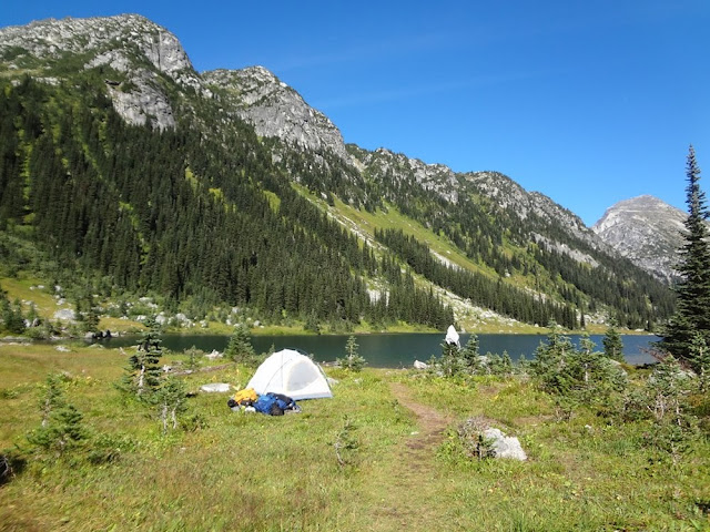 Tent set up next to Long Lake, Tolkien Group