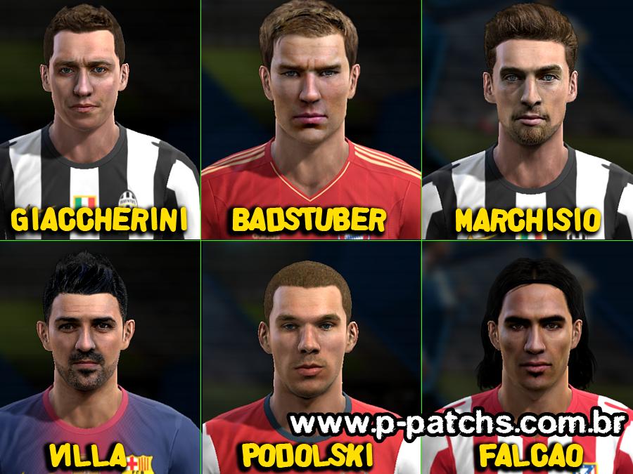 Emanuele Giaccherini, Holger Badstuber, Claudio Marchisio, David Villa, Lukas Podolski e Falcão García Faces - PES 2013