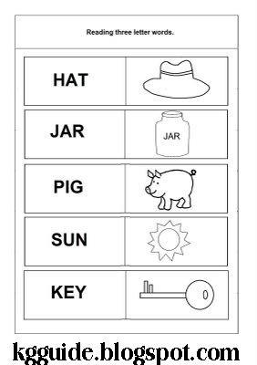 three letter words for preschool kindergarten worksheet guide pictures clip line 822