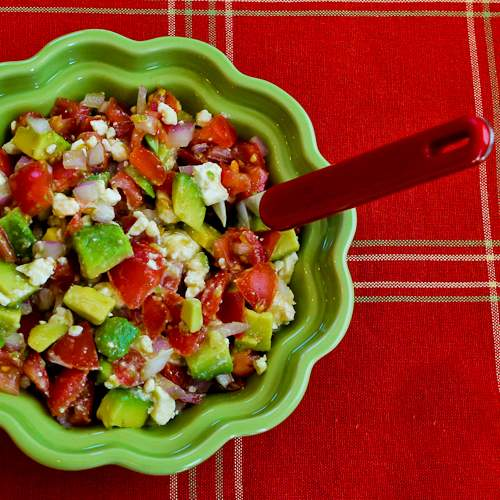 Salsa with tomato, avocado, onion, lime, and Feta