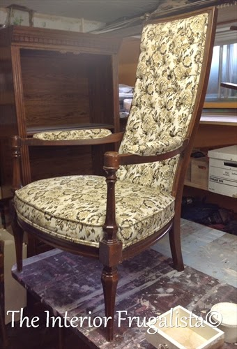 Vintage High Back Throne Arm Chair makeover Before