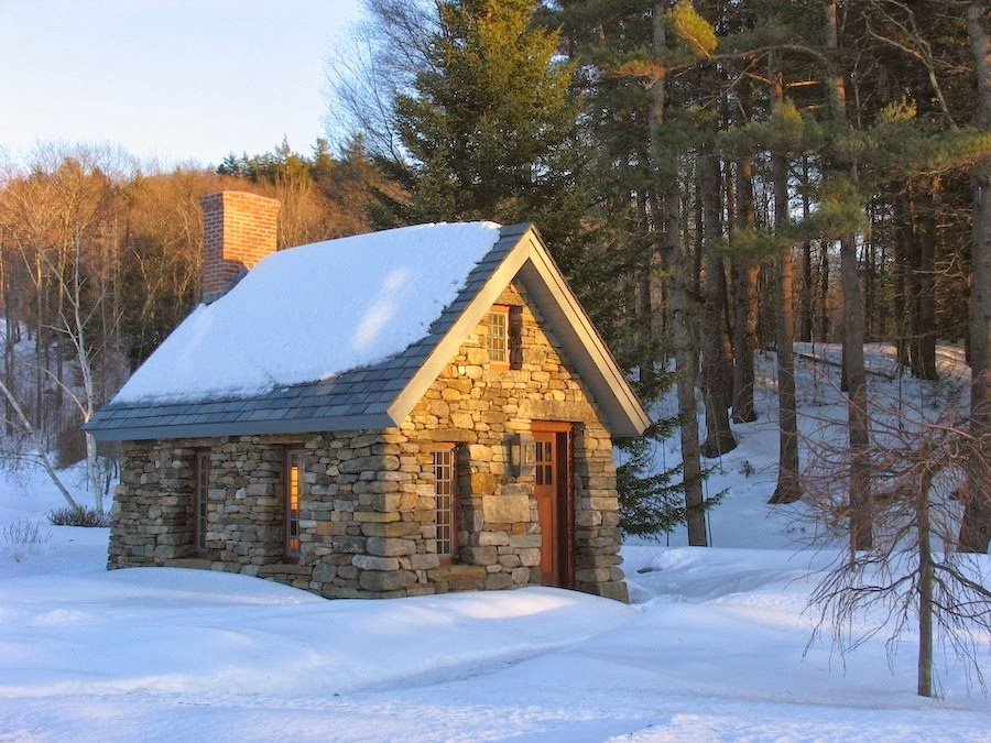 Offgrid life thoreau stone cabin replica tiny house for Winter cabin plans