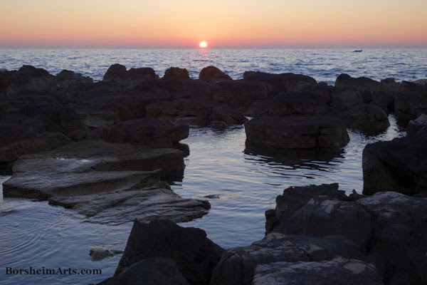 Setting Sun Adriatic Sea Umag Croatia sunset