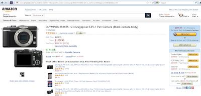 Offerta su Amazon della Olympus E-PL1 a 150$