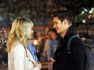 Emma Stone y Andrew Garfield en el rodaje de The Amazing Spiderman 2