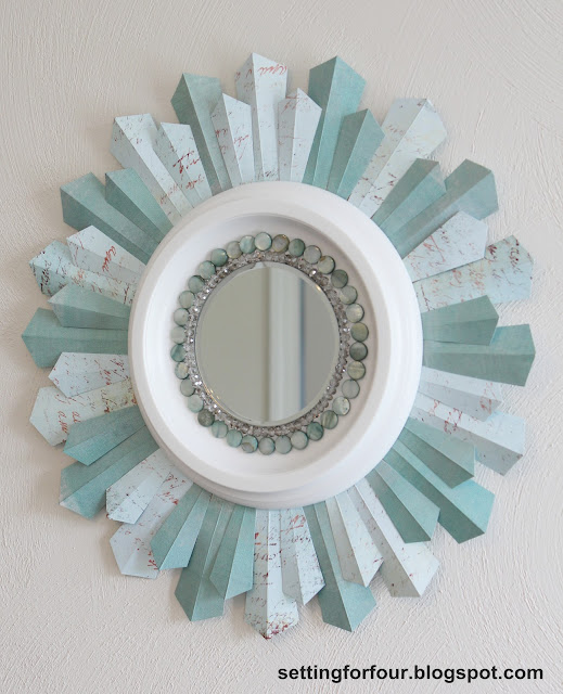 Home Decor - DIY Sunburst Mirror from Setting for Four #mirror #sunburst #diy #craft #home #bead #tutorial