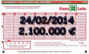 Sorteo de la Bonoloto del lunes 24/02/2014