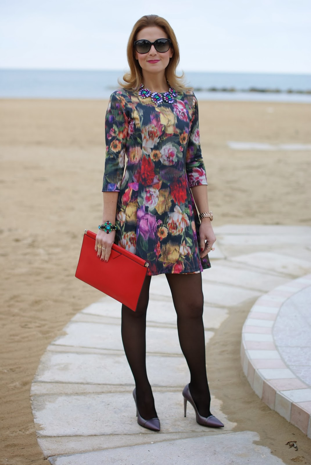 floral dress, Fabi pumps, Mercantia gioelli, Fashion and Cookies, fashion blogger