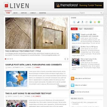 Liven blog template. template image slider blog. magazine blogger template style. wordpress theme to blogger. template blog 3 column footer