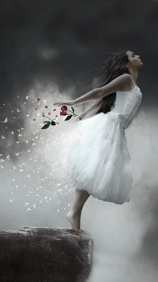 Girl On A Cliff White Dress Red Rose  Galaxy Note HD Wallpaper
