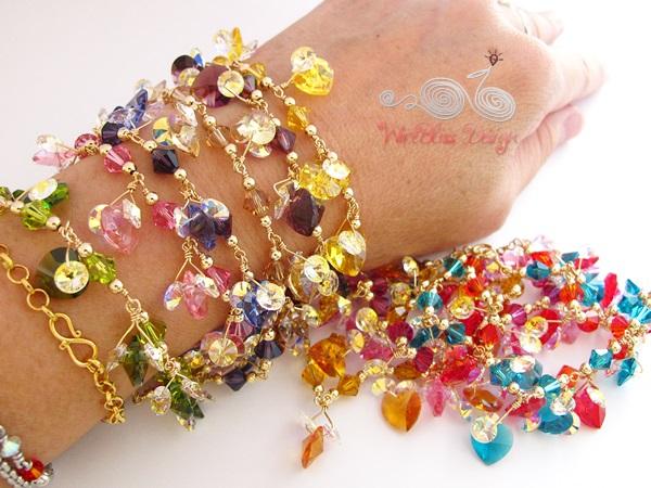 Wire wrapped swarovski crystal bracelet by Wirebliss - on wrist