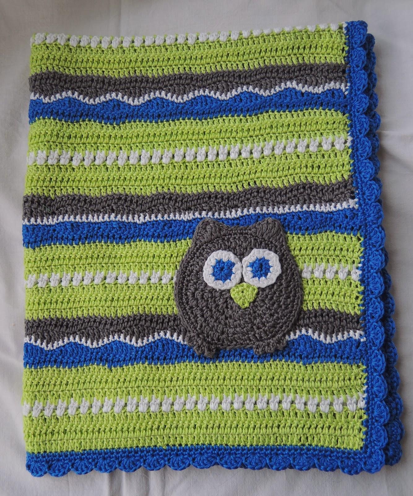 d\'Inge: Häkel-Babydecke grün/blau/grau mit Eule