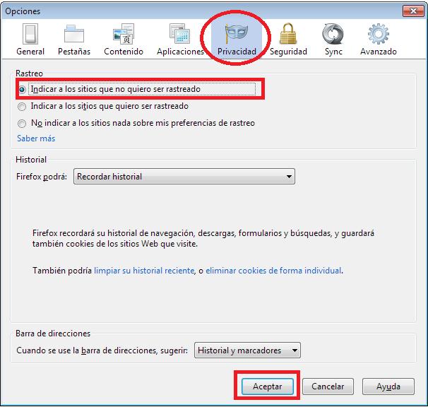 Opciones de privacidad Firefox