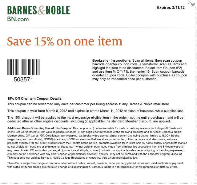 Free coupon codes for barnes and noble
