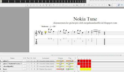 aransemen lagu Nokia Tune di guitar pro 5