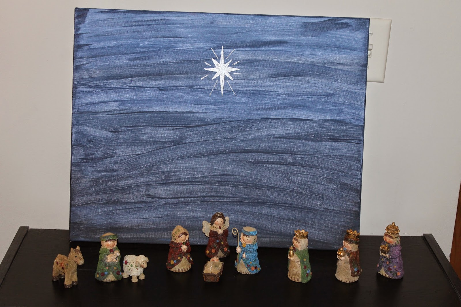 star of bethlehem on painted canvas, paint a background for nativity set