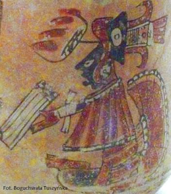 Wizerunek skryby z książką w ręku. Waza w Muzeum Ameryki w Madrycie