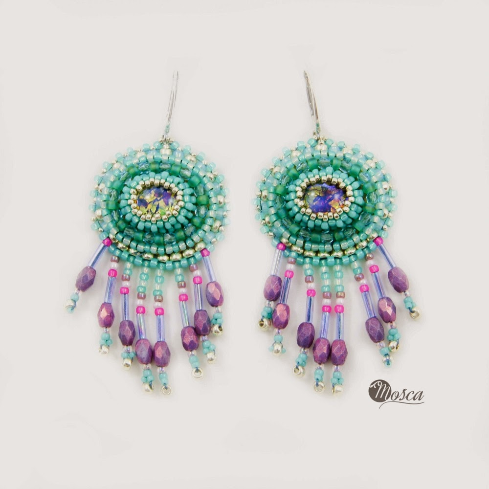kolczyki bead embroidery