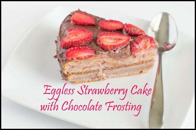 Eggless Strawberry Cake Recipe | Strawberry Cake with Chocolate Frosting Recipe