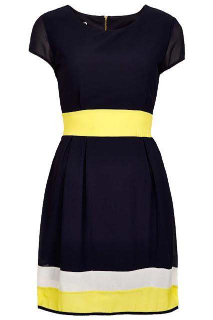 block chiffon dress
