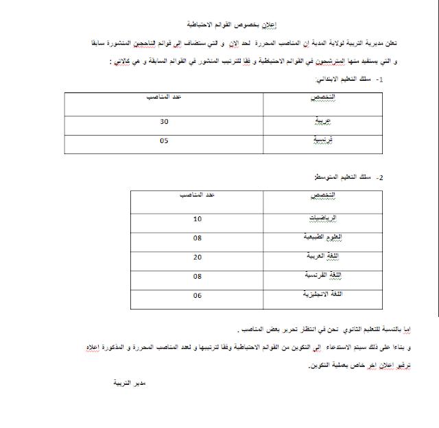 إعلان بخصوص القوائم الاحتياطية مديرية التربية لولاية المدية
