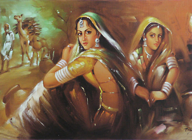Rajasthani Girls Art Paintings 32