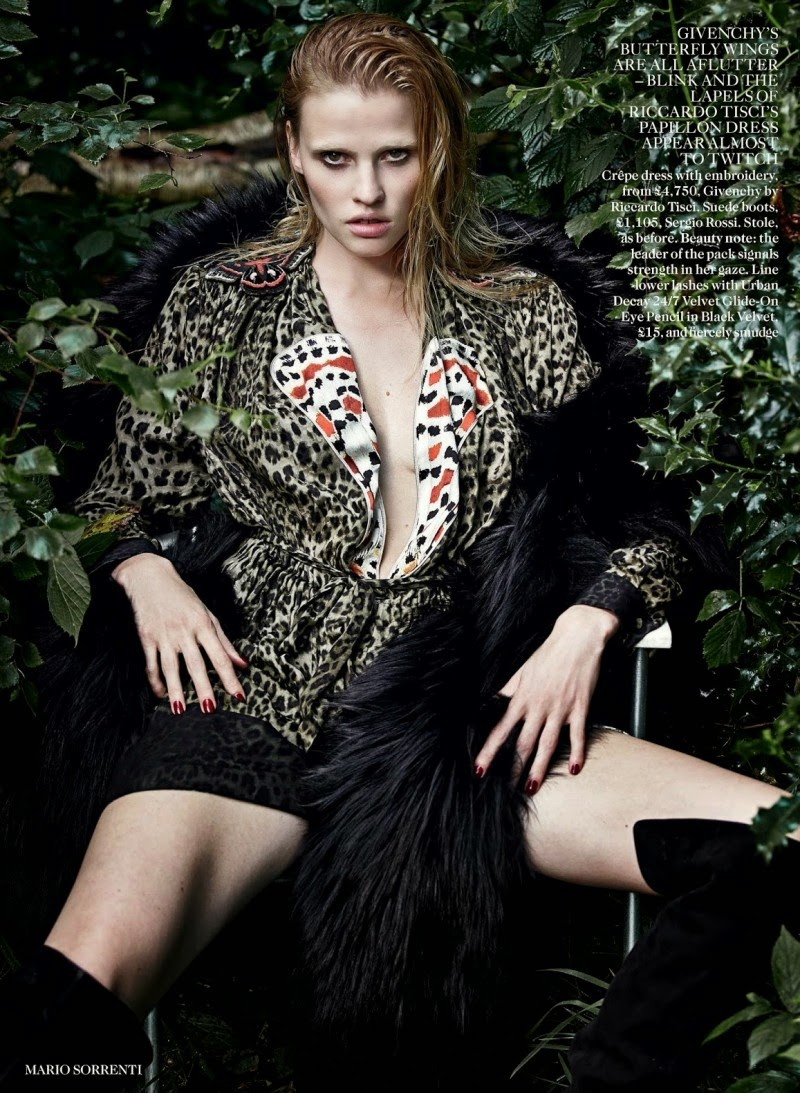 'the wolf in her' Lara Stone is styled by Kate Moss for Vogue UK September 2014