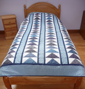 Blue Flying Geese Bed Quilt