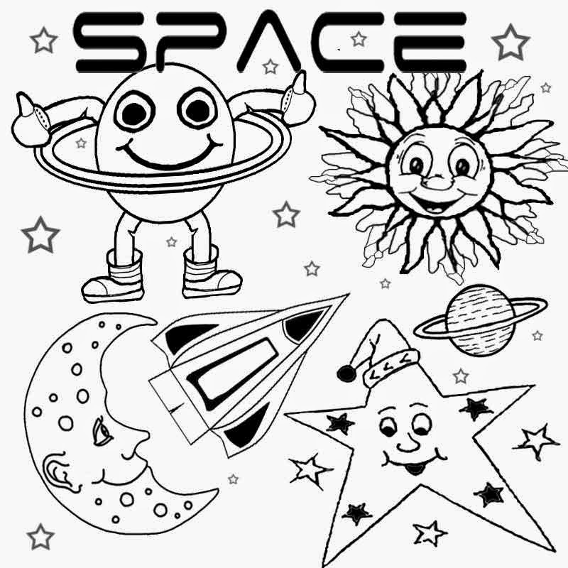 Free Super Printable Preschool Coloring Graphics Lunar Natural Satellite Spaceship Star Moon Theme