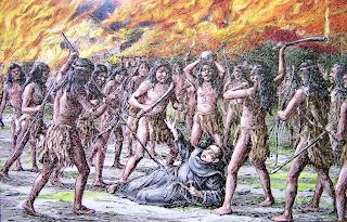'Fray Luis Jayme, primer mártir cristiano de California, tatando de calmar a los indígenas' obra de A.B.Dodge y Alexander Harmer, tomada de missioncalifornia.com
