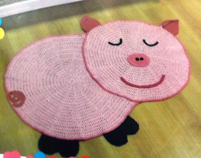 Tapete de Croché Infantil Porquinho com Gráfico