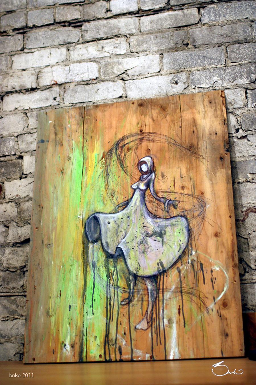 The design llama shameless self promo bnko new paintings for Mural art on wood
