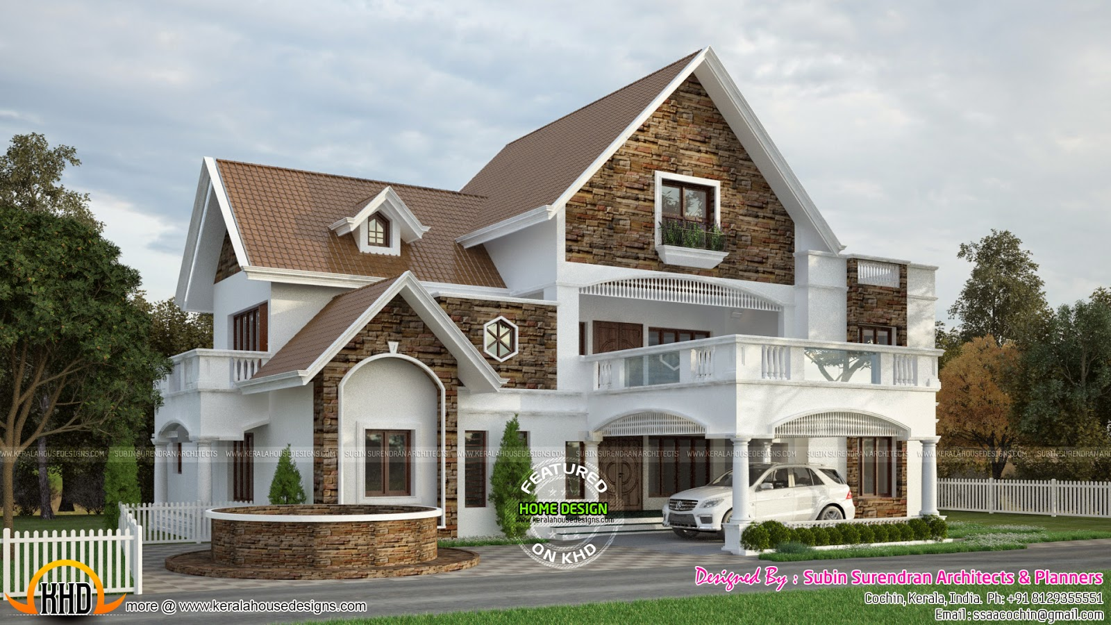 Western style villa by devika homes keralahousedesigns for Sloped roof house plans in india