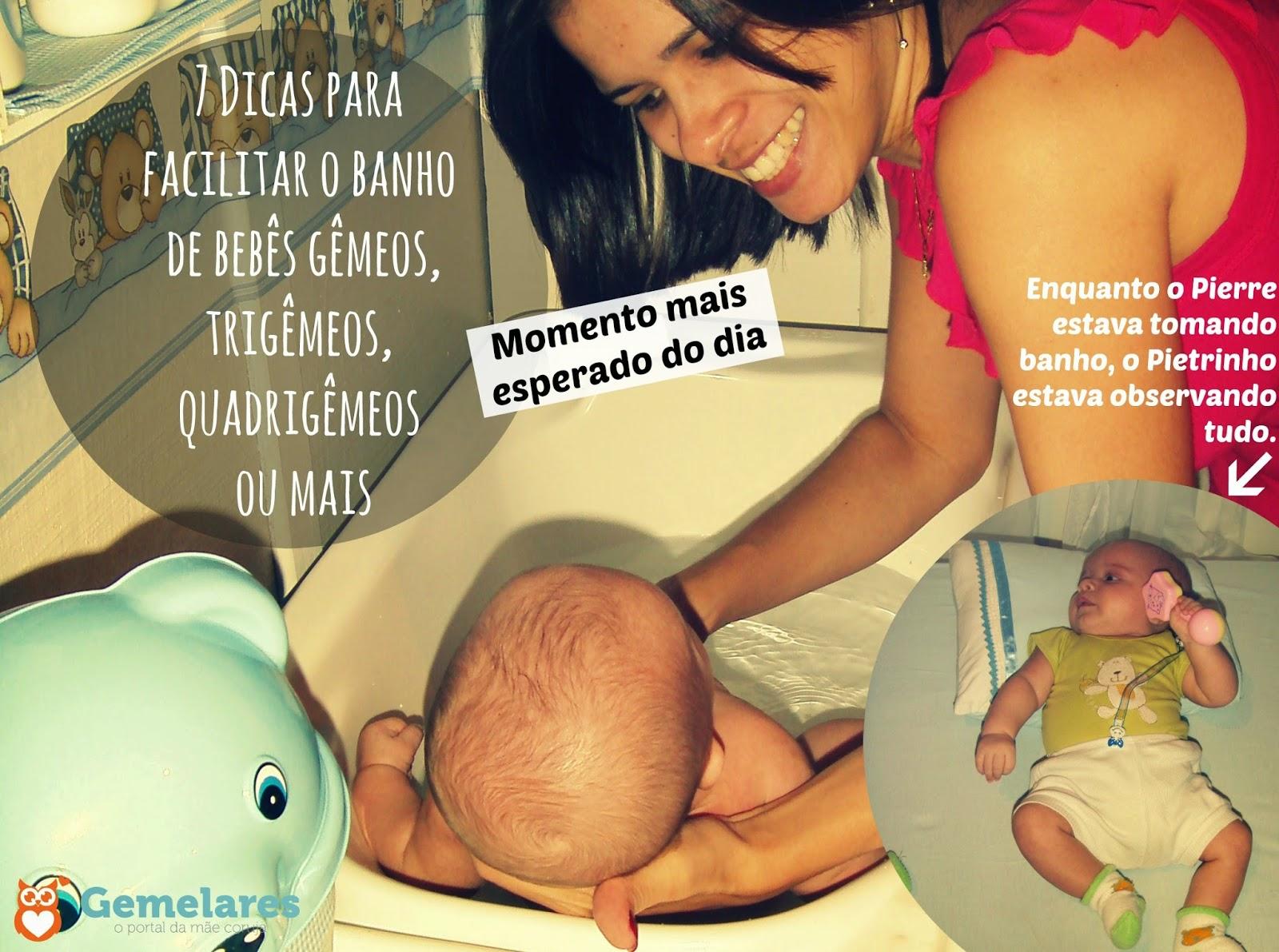 7 Dicas para facilitar o banho de bebês gêmeos, trigêmeos, quadrigêmeos ou mais