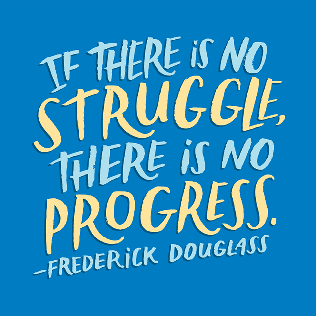 hand lettered frederick douglass quote
